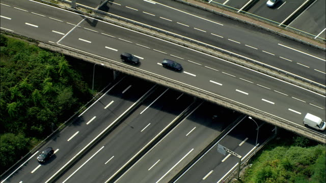 zo, aerial, motorway junctions, nantes, pays de la loire, france - nantes stock-videos und b-roll-filmmaterial