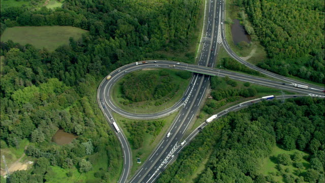 aerial, motorway junctions, nantes, pays de la loire, france - nantes stock-videos und b-roll-filmmaterial