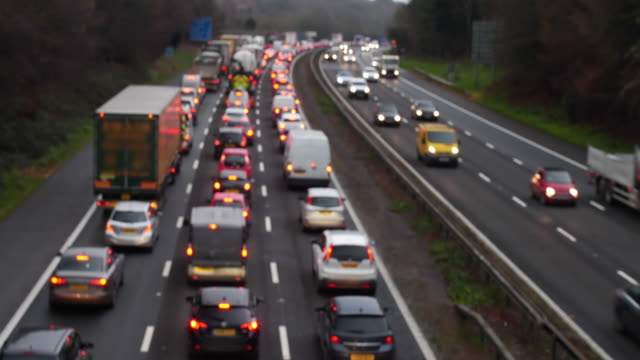 motorway traffic jam westbound, m25 greater london. - traffic jam stock videos & royalty-free footage