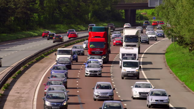 m6 motorway traffic - queuing stock videos & royalty-free footage