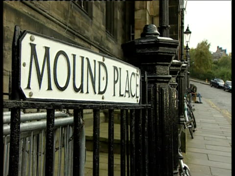 Mound Place road sign on railings with bicycles in background Edinburgh