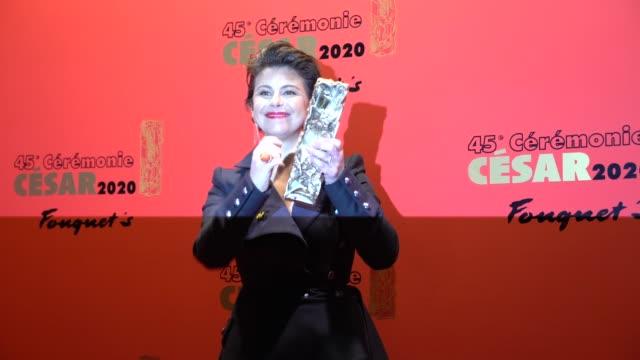 vidéos et rushes de mounia meddour attends the dinner at le fouquet's, as part of the cesar film awards 2020, on february 28, 2020 in paris, france. - cesar