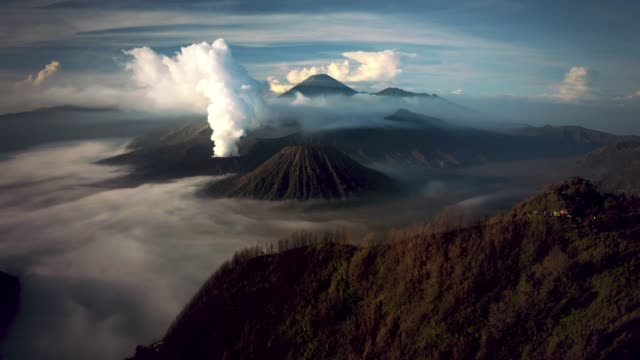 mount bromo active volcano - indonesia stock-videos und b-roll-filmmaterial