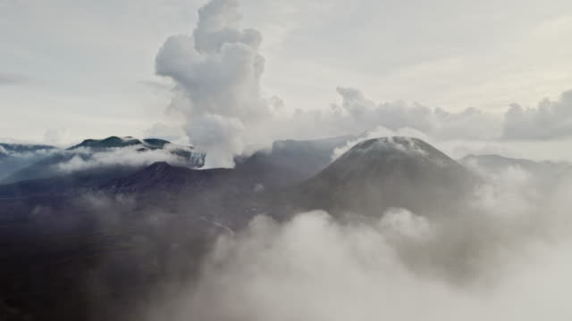 mount bromo and semeru at sunrise - bromo crater stock videos & royalty-free footage