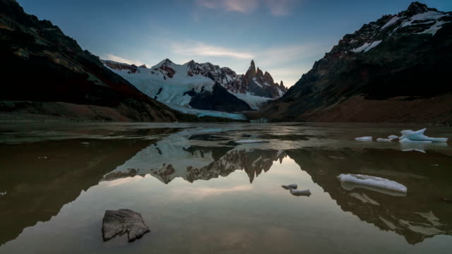 Mount Cerro Torre at sunset. Lake Torre, Patagonia, Argentina