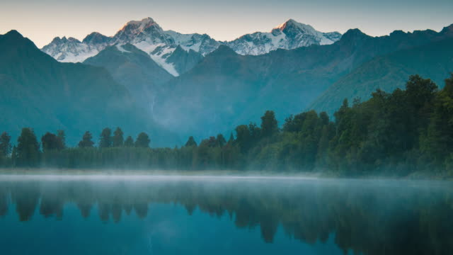 mount cook and  lake matheson new zealand - lake stock videos & royalty-free footage