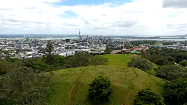 mount eden and downtown auckland. - drone stock videos & royalty-free footage
