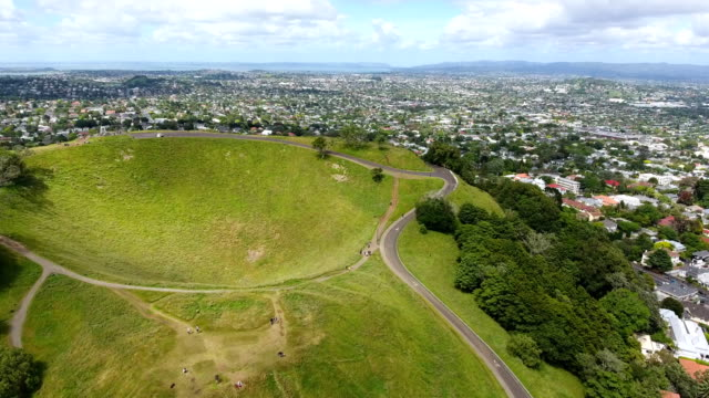 mount eden, auckland, new zealand - dronebase stock videos and b-roll footage