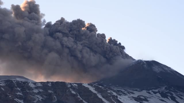 mount etna, one of the most dangeorus volcanoes, erupts sicily, italy on march 16, 2017. 10 people injured after eruption, none of them in critical... - meteor crater stock videos & royalty-free footage
