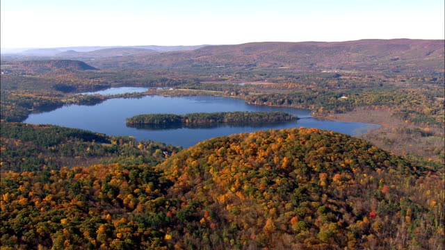 Mount Everett And Sate Border  - Aerial View - Massachusetts,  Berkshire County,  United States