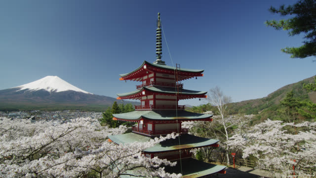 mount fuji and chureito pagoda - pagoda点の映像素材/bロール