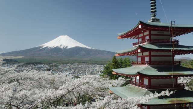 mount fuji and chureito pagoda - pagoda stock videos & royalty-free footage
