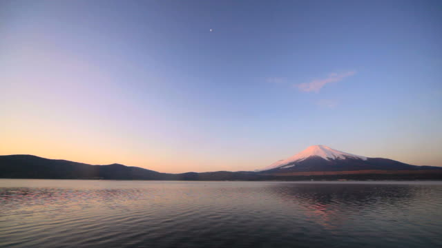 Mount Fuji and Lake Yamanaka before the daybreak.