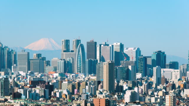 ws t/l mount fuji and shinjyuku city buildings / tokyo, japan - 2014 stock videos and b-roll footage