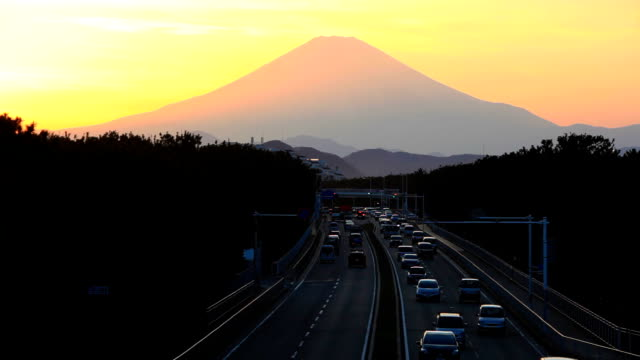 Mount Fuji and traffic at sunset(timelapse)