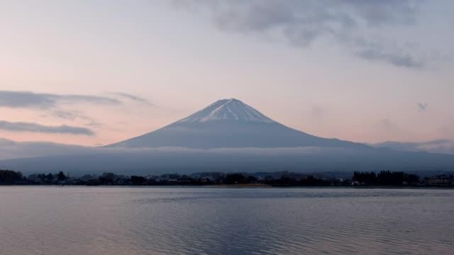 mount fuji reflection kawaguchiko lake - shinto shrine stock videos & royalty-free footage