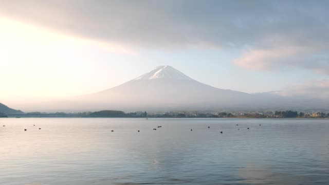 mount fuji reflection kawaguchiko lake - shrine stock videos and b-roll footage