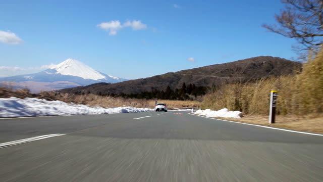 富士山の眺めのほか、背面ビュー - 乗物後部から見た視点点の映像素材/bロール