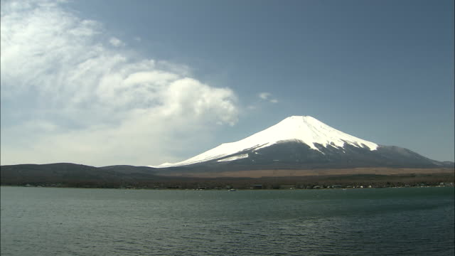 WS Mount Fuji with Lake Yamanaka in foreground, Fuji Hakone National Park, Kanagawa Prefecture, Honshu Island, Japan
