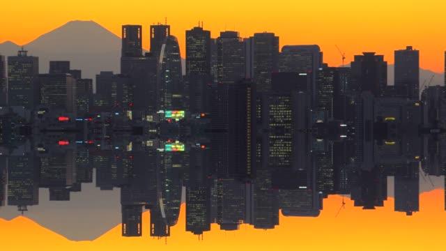 日没前に建物市と富士山 - 世界遺産点の映像素材/bロール
