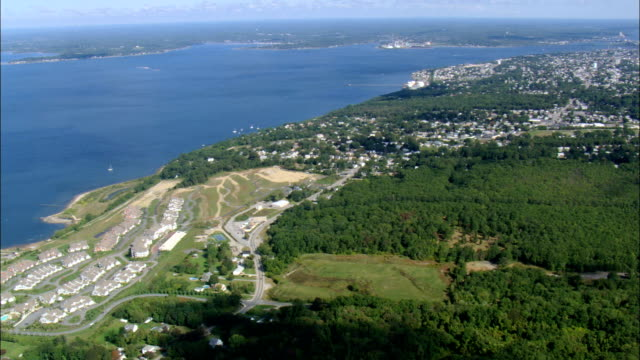 mount hope bay and tiverton  - aerial view - rhode island, newport county, united states - bay of water stock videos & royalty-free footage