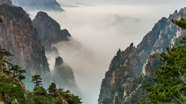 mount huangshan - granite rock stock videos & royalty-free footage