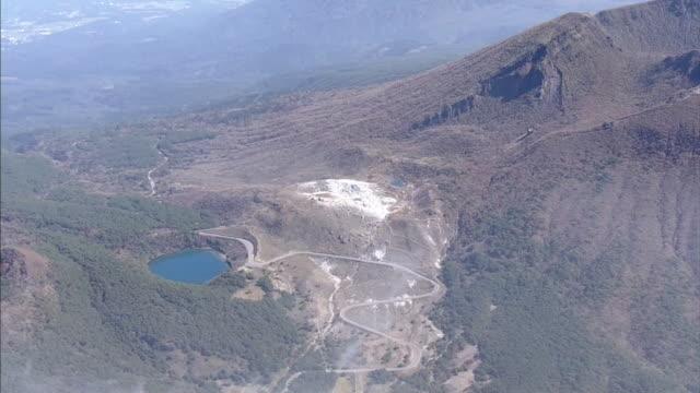 aerial, mount io, active volcano, miyazaki, japan - satoyama scenery stock videos & royalty-free footage
