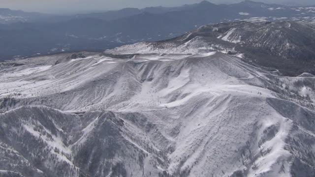 aerial, mount kusatsu-shirane, active volcano, gunma, japan - satoyama scenery stock videos & royalty-free footage