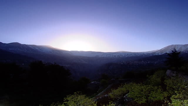 mount lebanonview from the qadisha valley of the sunrise on mount lebanon - snowcapped mountain stock videos & royalty-free footage