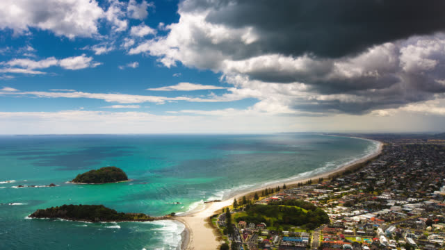 time lapse: mount maunganui new zealand - north island new zealand stock videos & royalty-free footage