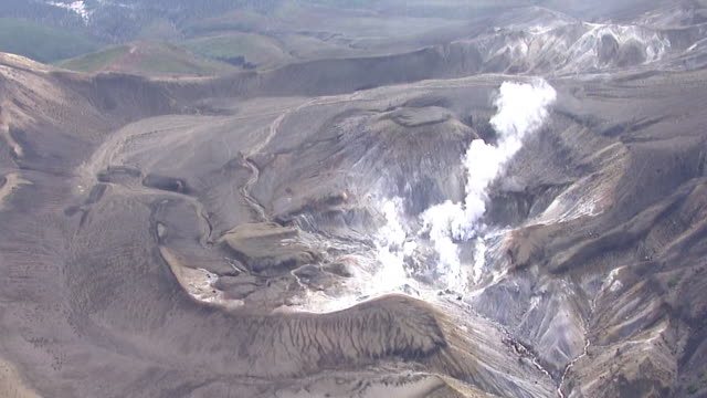 aerial, mount meakan, hokkaido, japan - satoyama scenery stock videos & royalty-free footage