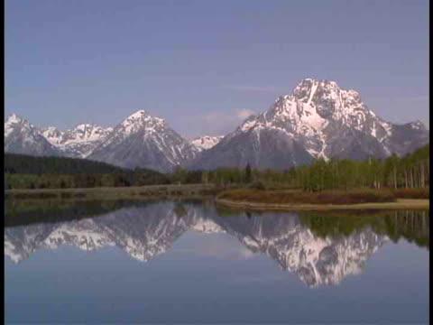 zo, ws, mount moran and jackson lake, grand teton national park, wyoming, usa - grand teton stock-videos und b-roll-filmmaterial