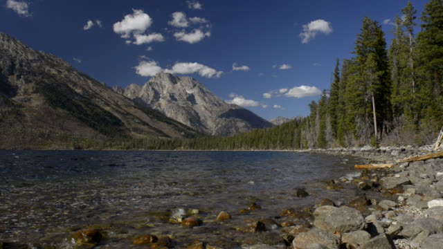mount moran seen from jenny lake.grand teton national park. - parco nazionale del grand teton video stock e b–roll