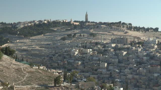 vídeos de stock, filmes e b-roll de mount of olives, jerusalem, israel - jerusalém