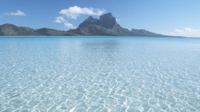 T/L WS Mount Otemanu with shallow lagoon in foreground, Bora Bora, Society Islands, French Polynesia