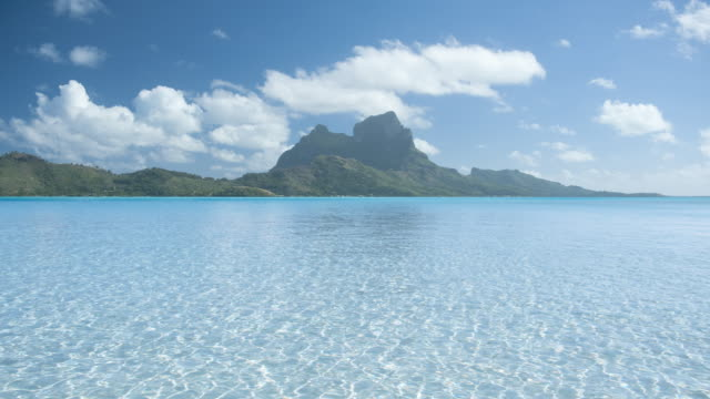 T/L WS POV Mount Otemanu with shallow lagoon in foreground, Bora Bora, Society Islands, French Polynesia