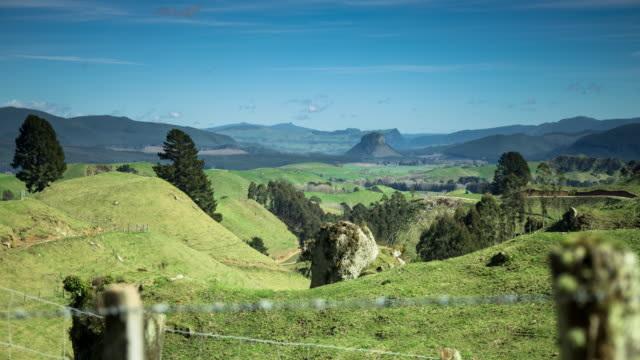 Mount Pohaturoa in Rolling New Zealand Landscape - Time Lapse