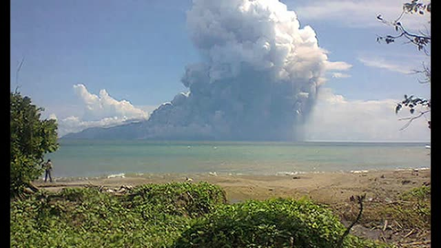 Mount Rokatenda on the tiny island Indonesian of Palue erupted Saturday sending a fast moving red hot ash onto a nearby beach leaving three adults...