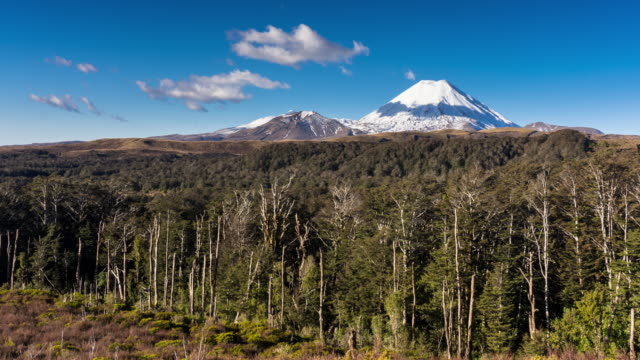 mount ruapehu and mount ngauruhoe in winter - time lapse - tongariro national park stock videos & royalty-free footage