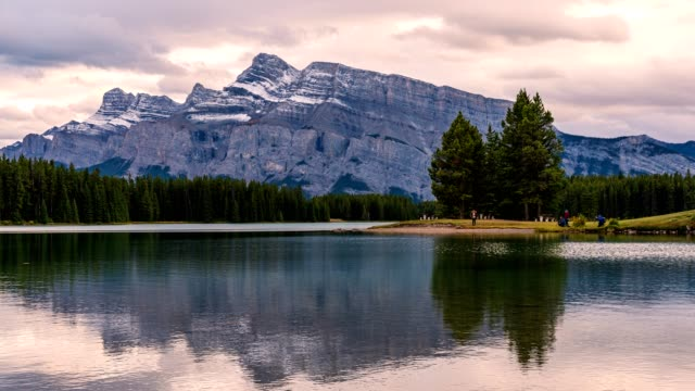 mount rundle reflection on two jack lake in evening at banff national park, canada - interconnect plug stock videos & royalty-free footage
