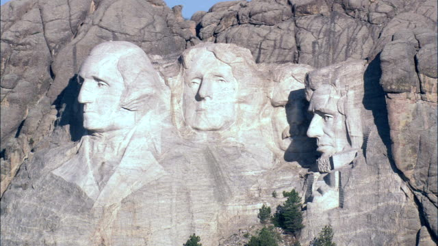 mount rushmore  - aerial view - south dakota, pennington county, united states - mt rushmore national monument stock videos and b-roll footage