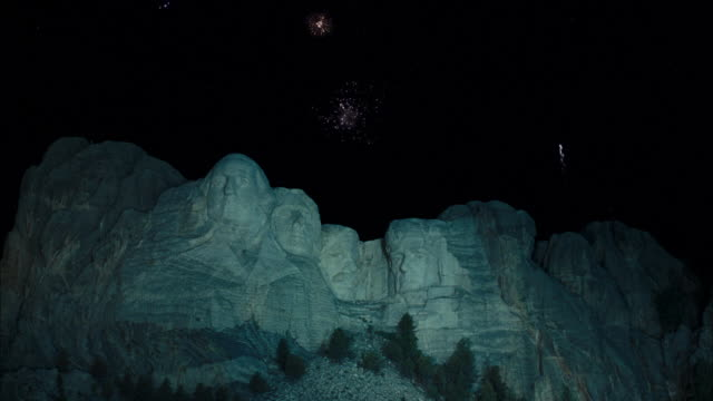 TU Mount Rushmore with fireworks exploding / Keystone, South Dakota, United States