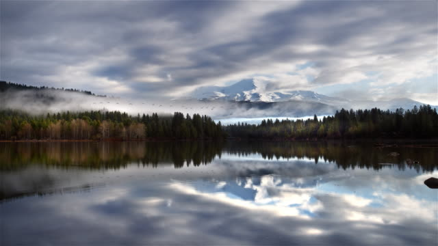 mount shasta reflected in lake siskiyou, california - north stock videos and b-roll footage