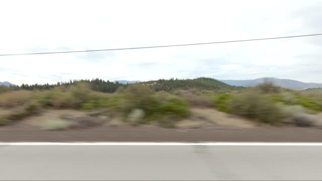 vídeos de stock e filmes b-roll de mount shasta v synced series left view driving process plate - abeto