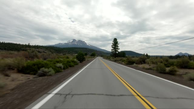 vídeos de stock e filmes b-roll de mount shasta v synced series rear view driving process plate - abeto