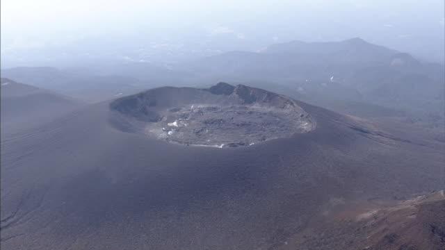 aerial, mount shinmoedake, active volcano, kyushu, japan - satoyama scenery stock videos & royalty-free footage