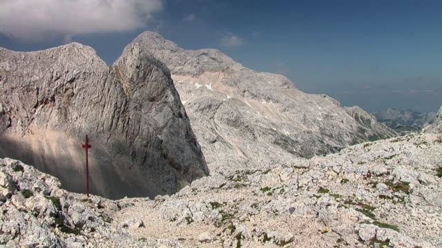 ms, mount triglav with signpost, triglav national park, gorenjska, slovenia - triglav national park stock videos and b-roll footage