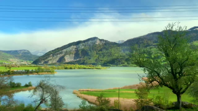 mountain and alpine lake lucerne in a sunny day - lake lucerne stock videos & royalty-free footage