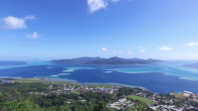 mountain and sea in french polynesia - tahaa island stock videos & royalty-free footage