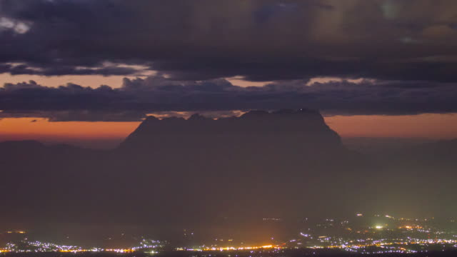 Mountain and Urban After Sunset , Time Lapse